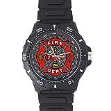 100% Plastic Quartz Watch Cool Fireman Emblem on Iron Plate Black Plastic Christmas Day Gift Watch