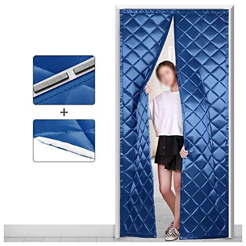 ZXL Blauwe magnetische thermische isolatie deur gordijn Oxford stof vilt vulstof warmtebescherming deurbekleding (kleur: A, grootte: 100 cm x 200 cm)