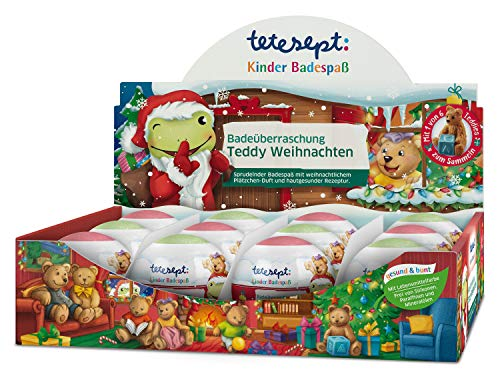 tetesept Kinder Badespaß Badeüberraschung Teddy Weihnachten – Pflegender Badezusatz für Kinder ab 3 Jahren – Mit Teddies zum Sammeln in jeder Kugel – 12 Sprudel-Kugeln à 140 g