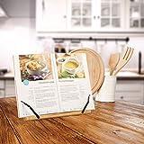 Relaxdays Buchständer, Kochbuchhalter aus Bambus, verstellbar, 5 Stufen, klappbarer Leseständer, HBT 24x34x21 cm, natur - 3