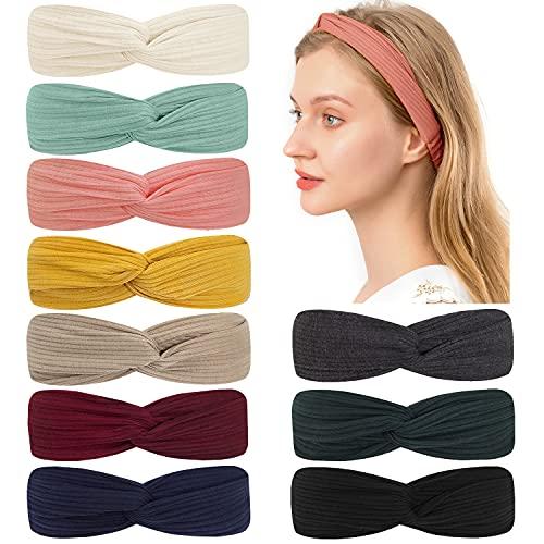 Headbands Soft Knitting 10 pcs,Elastic Headbands For Girls Women Hair Accessories Solid Color Turban Headbands (10 Colors Set 2-yellow pink green beige coffee black gray red wine dark green navy blue)