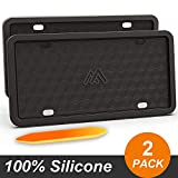 Two Peak Silicone License Plate Frame, License Plate Holder, Rust-Proof, Rattle-Proof, Weather-Proof, Car License Plate  Black (2 Pack)