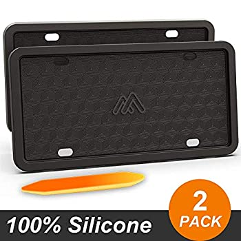 Two Peak Silicone License Plate Frame License Plate Holder Rust-Proof Rattle-Proof Weather-Proof Car License Plate – Black  2 Pack