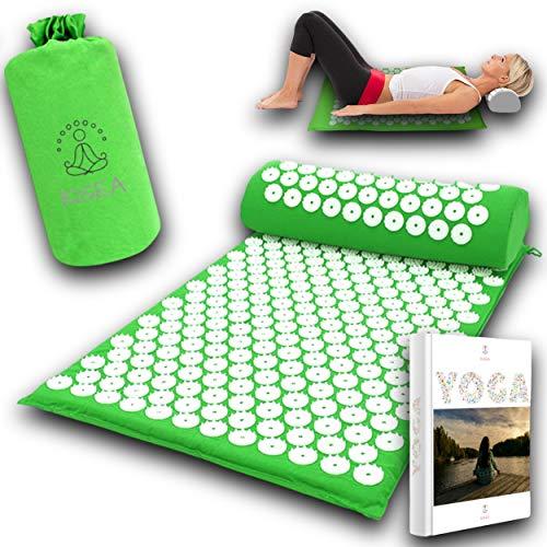 KISEA - Tapis acupression massage dos idéal pour le Yoga, Shiatsu – Kit coussin de massage avec sac tapis champ de fleurs avec picots pour un corps sans douleur et une bonne réflexologie plantaire