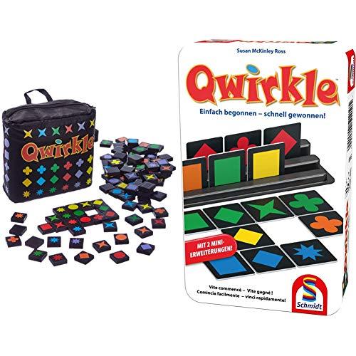 Schmidt Spiele 49270 Qwirkle Travel, Spiel des Jahres 2011 als Reisespiel, bunt & 51410 51410-Qwirkle, Weiss