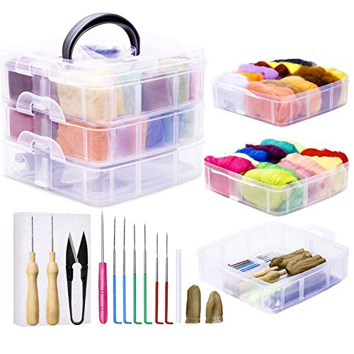 38 PCS Needle Felting Kit, 24 Colors Wool Roving (5g/Color), Complete Needle Felting Starter Kit with Basic Felt Tools and Supplies Wool Fibre Spinning Craft Wet Felting Material for Beginners