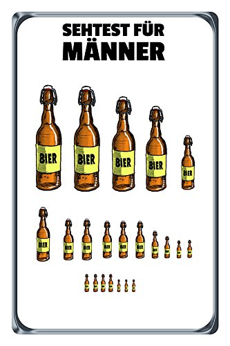 Sehtest für Männer Bier Beer Flasche Cartoon Blechschild Metallschild Schild gewölbt Metal Tin Sign 20 x 30 cm