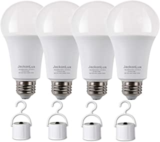 Rechargeable Emergency Light Bulb JackonLux UL Listed Battery Operated Light Bulb Power Outage Camping Reading Lighting Hurricane 9W 850 Lumens Soft White 3000K E26 120 Volt 4-Pack