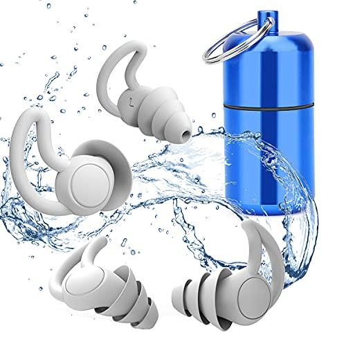 Tapones para los oídos para dormir 2 pares Protección Auditiva Tapones(32db ) Tapones Oidos de Silicona Reutilizables Impermeable para Nadar para reducción de ruido, Traviesas laterales, ronquidos