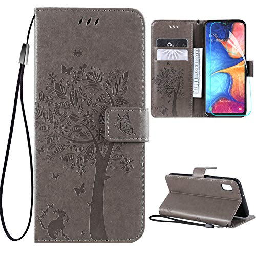 Galaxy A10e Case with Screen Protector,Samsung A10e Wallet Case,Galaxy A10e Flip Case PU Leather Emboss Tree Cat Flowers Folio Magnetic Kickstand Cover Card Slots for Samsung Galaxy A10e Gray