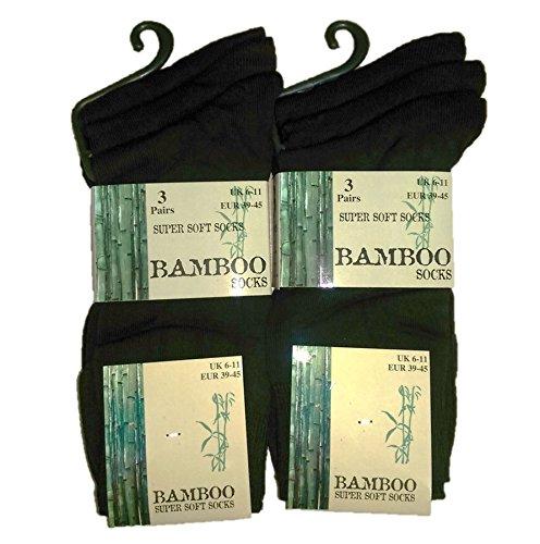 6 Pairs Mens Bamboo Super Soft SE044 Socks Black