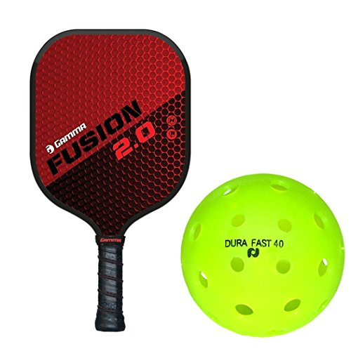 Gamma Fusion 2.0 Black/Red Composite Nomex Honeycomb Pickleball Paddle Kit or Set Bundled with Box of (4) Durafast 40 Outdoor Pickleballs (Best Pickleball Paddle for Spin)