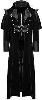 Men's Print Coat Tailcoat Jacket Gothic Frock Coat Uniform Costume Party Outwear