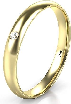 10K Rose Gold Diamond 3MM Dome Wedding Anniversary Band Ring