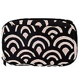 Bolsas de cosméticos con patrón de escamas de color negro geométrico práctico neceser bolsa de viaje Oragniser bolsa de maquillaje para mujeres y niñas
