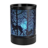 Foromans Scented Oil Wax Melts Warmer with Timer (4H, 8H,12H) & 7 Colors Changing Led Light Forest Design Fragrance Candle Warmer
