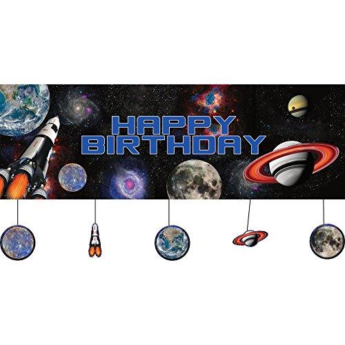 Creative Converting PC295533 Bannière d'anniversaire Motif espace extérieur Multicolore Taille unique