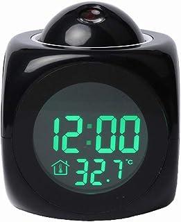 Bedroom Desks Projection Clock, Multifunctional Battery Powered Digital Plastic Led Projector Alarm Clock for Office