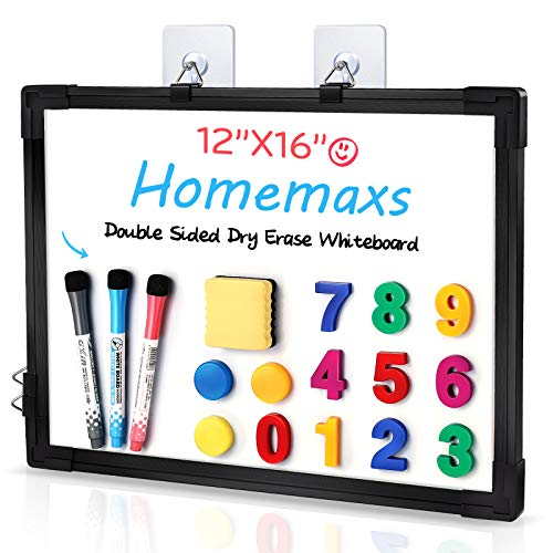 """Homemaxs Small Dry Erase Board【2021 Newest】12"""" x 16"""" Magnetic Hanging Whiteboard, Aluminium Frame White Board for Wall with Marker Pens, Anti-Drop Hook and Digital Magnets for Fridge, Office, Home"""