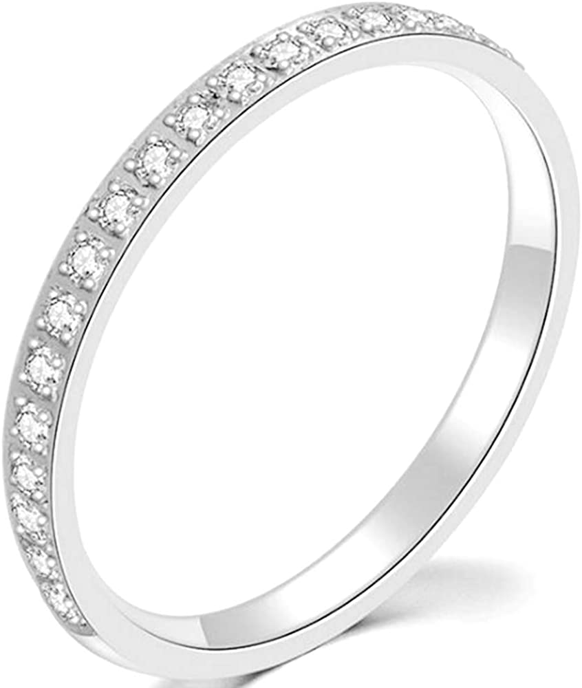 3mm Stainless Steel Half Eternity Wedding Band Stackable Ring