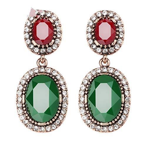 AdronQ Pendientes De Clip Aros Joyas Boho para Mujeres Pendientes Colgantes con Piedras Oro Antiguo Resina Verde Diamantes De Imitación Blancos Ovales Pendientes Grandes Caída