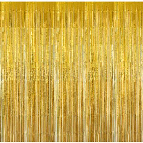 BangShou 4 Pezzi Tende di Orpello Metallico Tende Metalliche Tinsel di Frange di Sfondo per Natale, Halloween, Compleanno con 1M*3M (Oro)