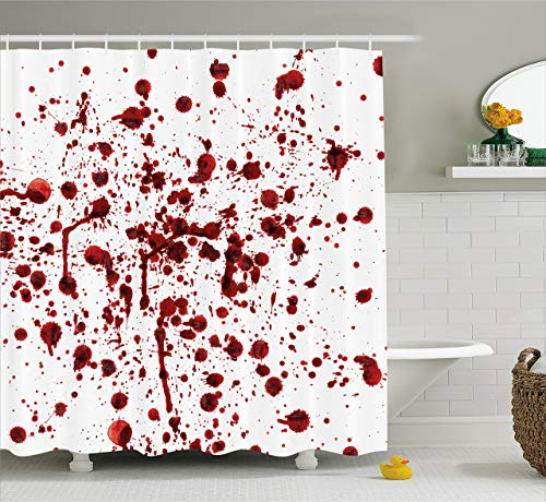 SPXUBZ Bloody Set Splashes of Blood Grunge Style Bloodstain Horror Scary Zombie Halloween Themed Print Red White Shower Curtain Waterproof Bathroom Decor Polyester Fabric Curtain Sets with Hooks