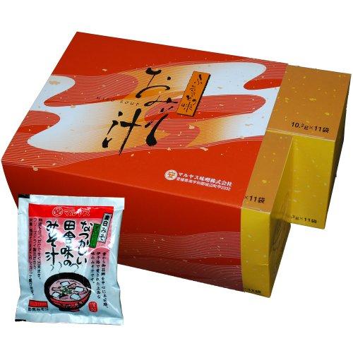 マルヤス味噌 フリーズドライ即席みそ汁 なつかしい田舎味の味噌汁(麦味噌) 11食入×2箱