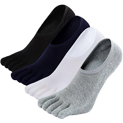 LOFIR Calcetines Cortos de 5 Dedos para Hombres Calcetines Invisibles con Dedos Separados, Calcetines Tobilleros de Algodón de Deporte para Hombre, talla 39-44, 4 pares
