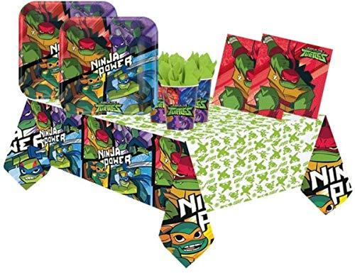 Lote de Cubiertos Infantiles'Tortugas Ninja' (32 Vasos,32 Platos(23cm),40 Servilletas y 2 Manteles) .Vajillas. Juguetes y Regalos de Cumpleaños, Bodas, Bautizos y Comuniones.