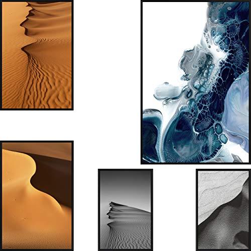 decomonkey | Poster 5er – Set mit schwarzem Rahmen schwarz-weiß Abstrakt Sand Meer Abstrakt Kunstdruck Wandbild Print Bilder Bilderrahmen Kunstposter Wandposter Posterset Sahara Wildnis Wasser