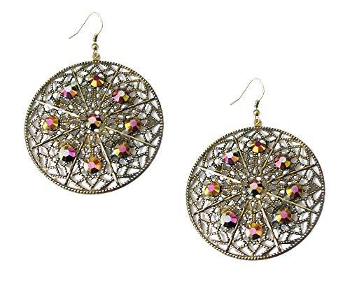 Pendientes de aro de oro envejecido, para mujer, diseño de gota grande, joyería de regalo para mujeres y niñas