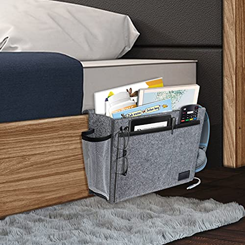 Felt Sofa Remote Holder Hanging Bed Organizer Caddy with 5 Pockets for Magazine, Earphone, Grey