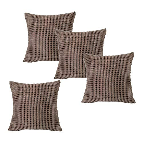 MERIGLARE 4pc Corduroy Big Corn Square Throw Pillow Case Funda de Cojín Hogar 24 '' Marrón