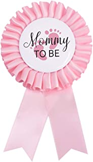 Baby Shower Mom Tinplate Badge Pin - Baby Shower Party Buttons New Mom Gifts Gender Reveals Party Favors Baby Girl Pink Rosette Button Baby Celebration (Light Pink)