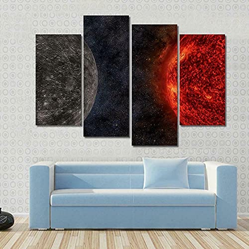 GSDFSD Art Prints - Solar System Mercury Planet - Wall Pictures Living Room Decor 4cs/set - Contemporary Pictures Paintings - Modern Landscape Artwork - Frameless