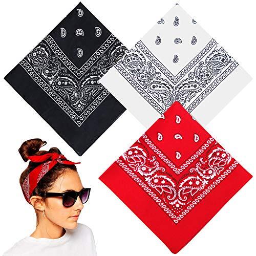 Ealicere 3Pcs Paisley Bandanas(rot, weiß, schwarz) ,Haar Accessoire Kopf Schal,Baumwolle Kopftuch,Halstuch,Dreieckstuch, Nickituch Vierecktuch, Square,Taschentuch für Damen,Herren