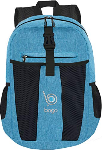Bago 25L Lightweight Packable Backpack - Water Resistant Travel and Hiking Daypack - Foldable and Handy for Camping Outdoor Sports (SnowBlue)