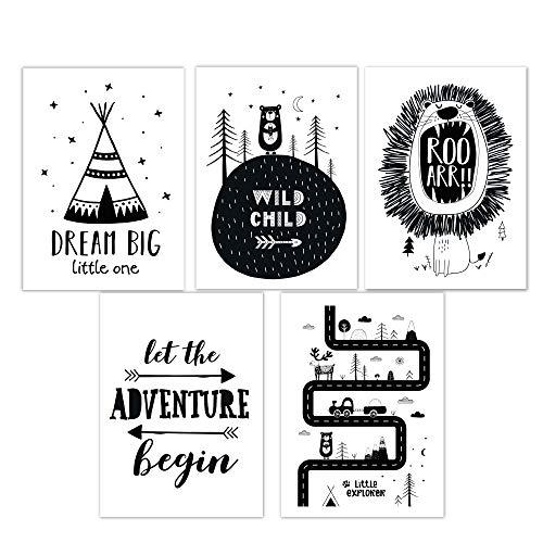 Little Fairy Tales Kinderzimmer Poster 5er Set Schwarz Weiß, Babyzimmer Deko, 5X DIN A4, Junge Mädchen (Set 4)