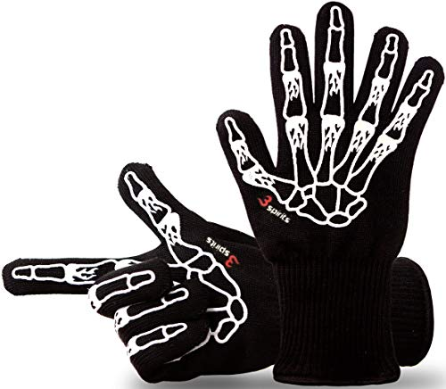 3-spirits® Designer Premium Grillhandschuhe, Ofenhandschuhe, Topfhandschuhe, Backhandschuhe, hitzebeständig bis 500 ° C