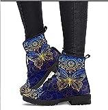 Botines de Moda para Mujer - Botines con Cordones para Mujer con Plataforma de Cuero a la Moda Bota con Estampado de Calavera - Primavera Otoño Invierno Zapatos (Color : Blue, Size : 42)