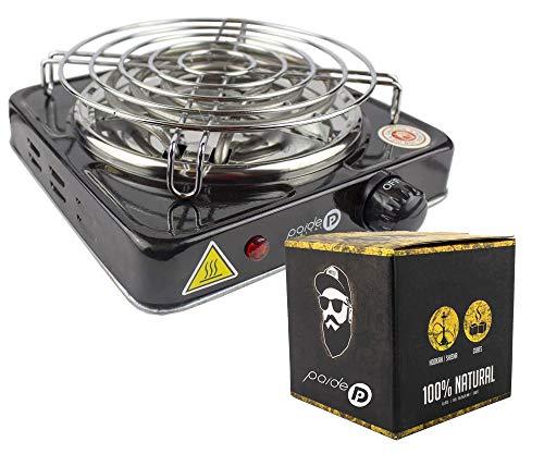potente para casa Paquete PAIDEP para pipas de agua, estufa de 1000 W con grill, carbón de coco natural 26x26x26 (negro…
