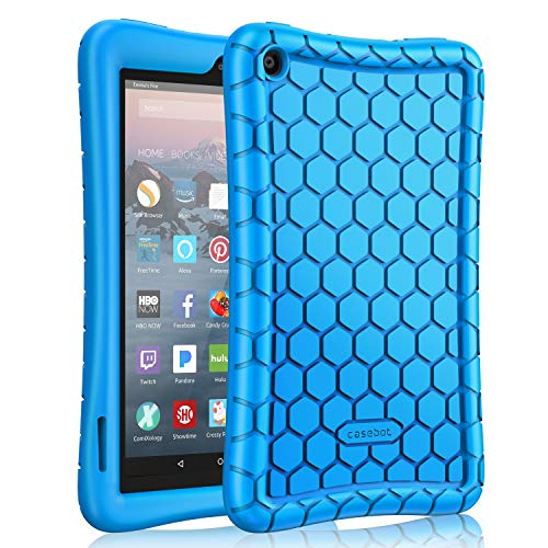 Fintie Silicone Case for All-New Amazon Fire 7 Tablet (9th Generation, 2019 Release) - [Honey Comb Series] [Kids Friendly] Light Weight [Anti Slip] Shock Proof Protective Cover, Blue