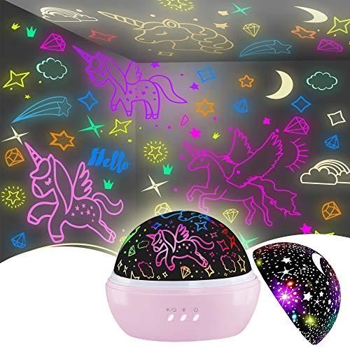 Unicornio Juguetes Niños 2-7 años,Juguetes Niña 2-6 años, Lampara Nocturna Infantil 360° Rotación y 16 Modos Iluminación Proyector, Regalos Para Niñas Cumpleaños,Navidad, Halloween de 1-8 años