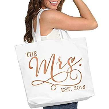 The Mrs. EST. 2018 Rose Gold Bride White Tote Bag - Bridal Shower Bachelorette Gift - White Tote(Mrs 2018 RG) WHT