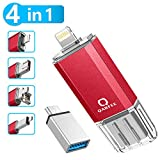 Memoria Flash 4 en 1 de 32 GB Compatible con iPhone y Dispositivos Android Memory Stick Expansión para iPhone Android teléfono Tablet PC y Dispositivos con USB/Micro USB/Type C/iOS L-Port-Red
