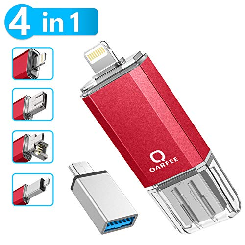 Qarfee Memoria USB 32GB 4 in 1 Chiavetta USB Flash Drive per iPhone iPad e PC Laptop, USB 3.0 Pen Drive per Dispositivi con Apple/iOS/Android/USB/Micr