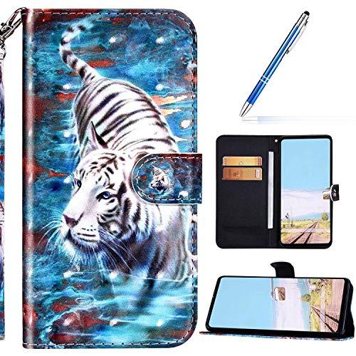 URFEDA Kompatibel mit Samsung Galaxy A21 Handyhülle Handytasche Leder Flip Case Brieftasche,Glitzer 3D Bunt Gemalt Muster Schutzhülle Magnetisch Kartenfach Ständer Klapphülle Lederhülle, Tiger