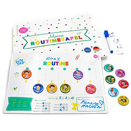 PinkMausi Belohnungstafel Kinder – Magnetisch & auf Deutsch – Für Mädchen & Jungen – Inkl. 12 Magneten mit Aufgaben & Belohnungen – Routine-Aufgaben spielerisch Lernen