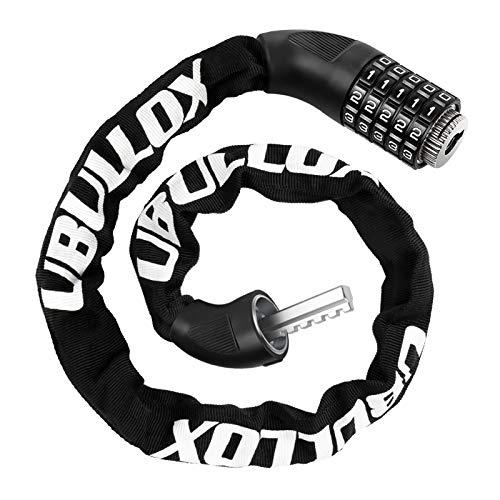 UBULLOX Bike Chain Lock 4FT Bike Lock 5-Digit Combination Bike Lock Anti-Theft Bicycle Lock Resettable Bike Lock Chain for Bicycle, Motorcycle and More, Black